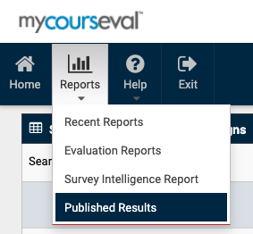 """Top left menu in CoursEval that shows """"Published Reports"""" under the """"Reports"""" menu"""